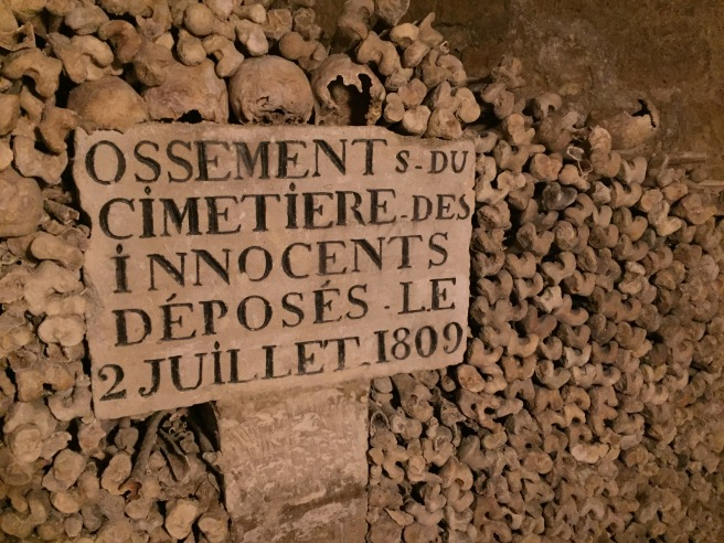 Bones piled high in the catacombs.