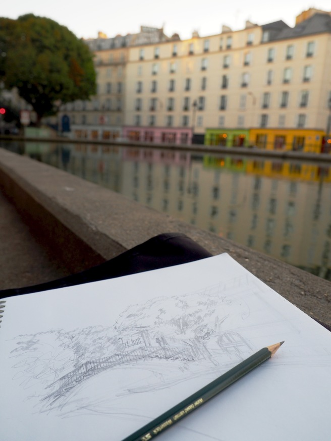 Sketching on Canal St. Martin, Paris