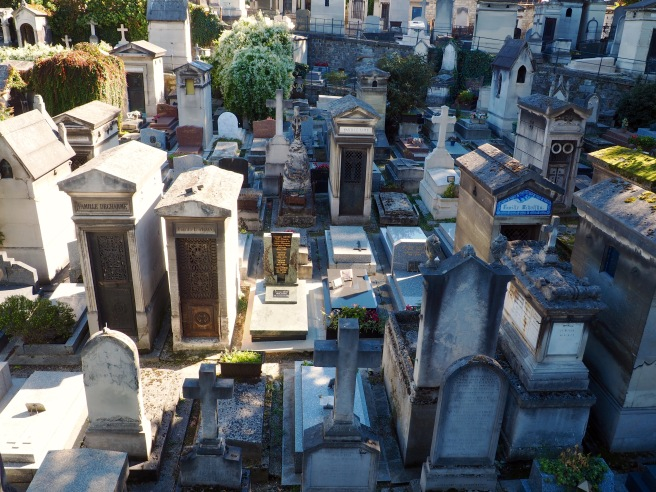 Looking down on Montmartre Cemetery from the intersecting bridge.