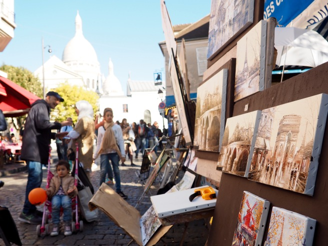 Art for sale behind the Sacre Coeur.