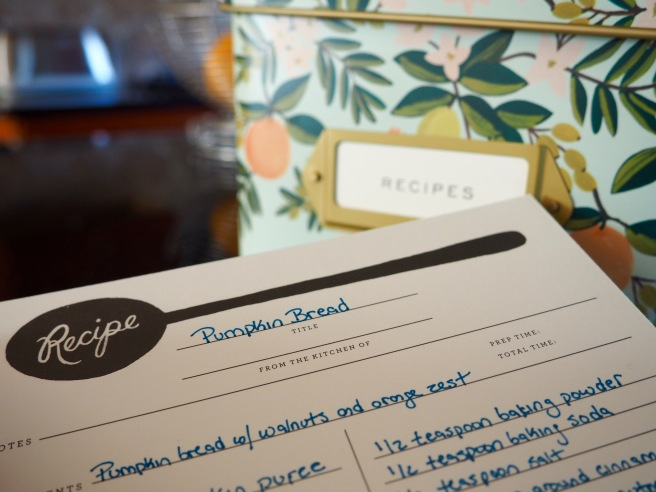 Eric got me this new recipe box from Rifle Paper Co. a few weeks weeks ago and I love it!